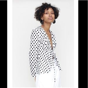 Hem & Thread NWT polka dot tie front blouse